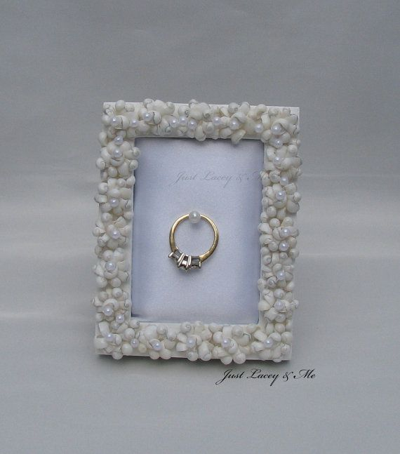 Christmas gift list  Wedding Ring Holder Frame Decorated With Tiny by JustLaceyAndMe