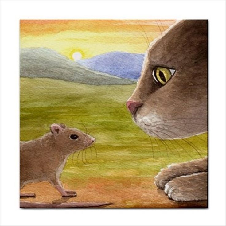Ceramic Tile Coaster from art painting Cat 560 mouse