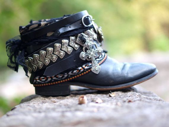 Custom Black boho PUNK upcycled FESTIVAL cowboy boots - boho boots - western boots