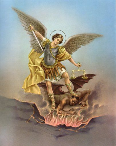"Archangel Saint Michael- ""Who is like to God""  Was the war cry of the good Angels in the battle fought in heaven against Satan and his followers."