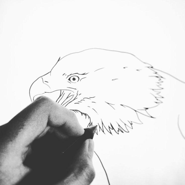 I have always love to draw both with pen & paper or in this case on my cintiq #alsdesignstudio #thedustyinklab #aksellarsen #whitetee #9000 #aalborg #denmark #danish #iloveprints #printnerd #cintiq #cintiqqhd27 #wacom #ergostand #eagle  #head