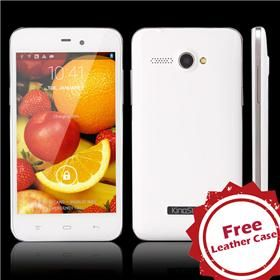 "KingSing K2 4.3"" IPS Screen MTK6572W Dual Core 1.3GHz 4GB Smart Phone Android 4.2 3G GPS w/ Free Leather Case White - GeekBuying.com"