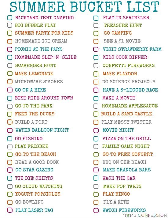 100 Fun Ideas For Your Summer Bucket List free printable http://www.momsconfession.com/summer-bucket-list-ideas/
