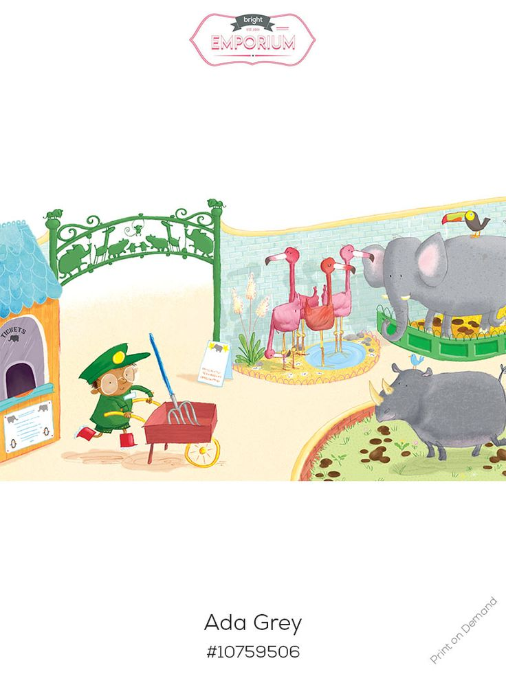 #zoo #keeper #nursery #art by @adagrey and is part of our new #exhibition #love the #book #buy the #print For more info, have a look at out what's on page http://www.thebrightemporium.com/printsandproducts/print-on-demand/