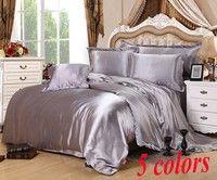 Wish | 4PCS Popular silk Damask bed linen duvet cover jacquard  bedsheet sets luxury silk bedding set king size (Size: King)