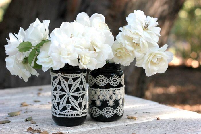 Mason Jar Vases In Black & Lace