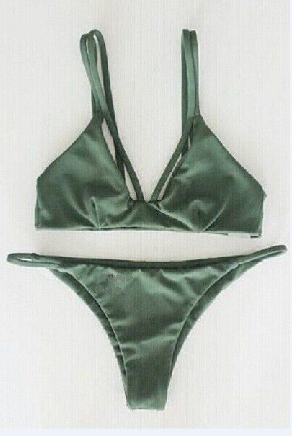 Cute Olive Green Lattice Front Halter Bikini Suits features lattice design,and structured bust cups. Fully lined, back tie closure. Perfect with green Bottoms, or mixed up with anything you're feeling