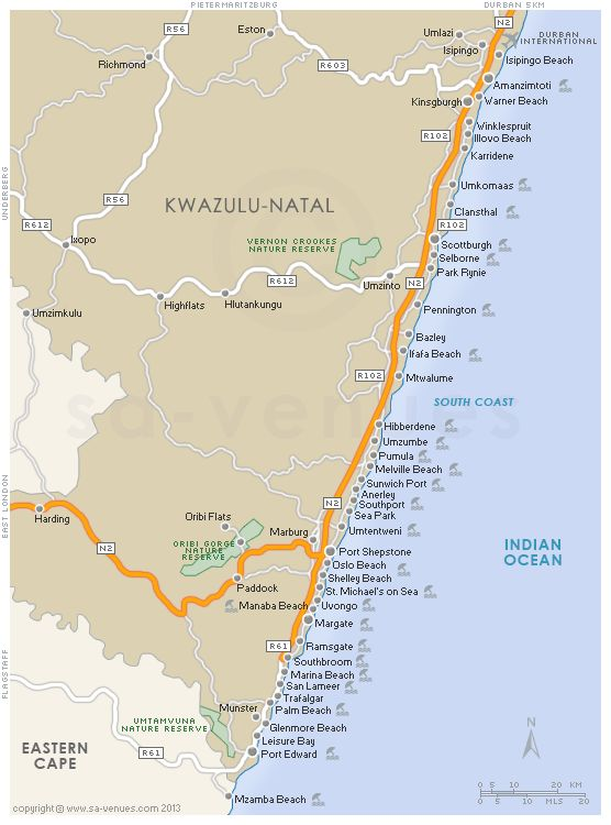 SOUTH COAST Map, KwaZulu Natal