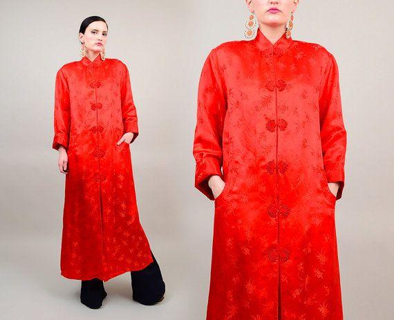 70s Orange Floral Silk Satin Chinese Asian Duster 1970s Kimono Boho Hippie Smoking Jacket Medium M