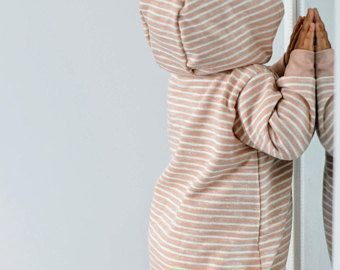 Organic Hooded Baby Girl Boy Overall | Baby Striped Romper Coverall | Newborn Jumpsuit | Longsleeve Kids Playsuit |Organic baby kids clothes