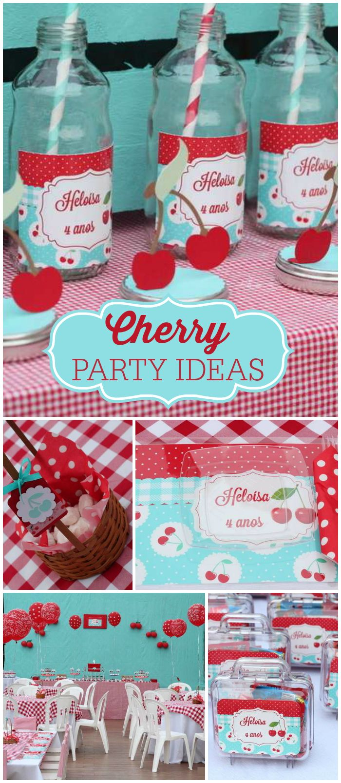 Loving this delightful cherry party!  Cute drinks and take home favor boxes! See more party planning ideas at CatchMyParty.com!
