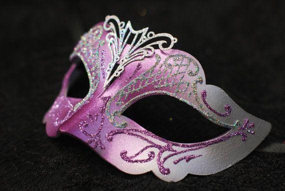 Maschera di Venezia per bambina - maschera da principessa viola con glitters B04