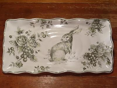 Maxcera GREEN White TOILE Bunny RABBIT Serving PLATTER 18  Easter French Country & 20 best Maxcera dinnerware images on Pinterest | Bunny Dinnerware ...