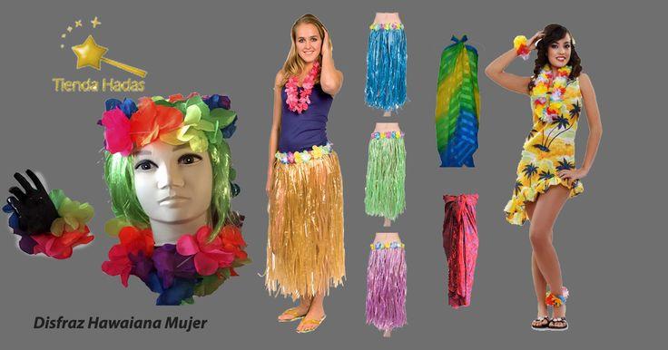 Disfrázate de Hawaiana, usando los collares, cintillos y pulseras de flores disponibles en nuestra tienda, súmale un pareo o combina la parte superior de un bikini con un pareo o las típicas faldas que puedes comprar o incluso hacer tu misma.