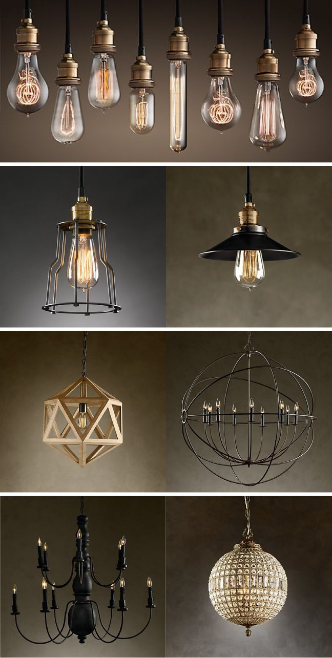 Restoration Hardware Lighting  top pic - make chandeliers like this... have bulbs, get multi pendant bulb kit from online world market $40 - get 2