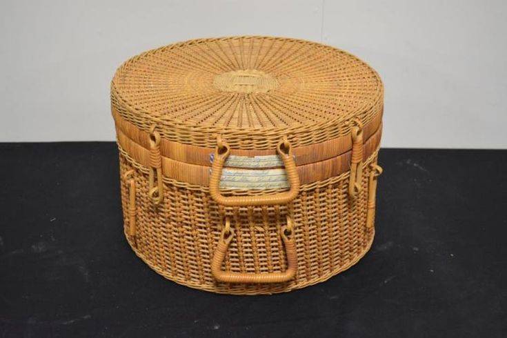 "Lot 116: Wicker Hat Box 10 1/2""H, 16 1/4""round - Bright Star Antiques Co. 