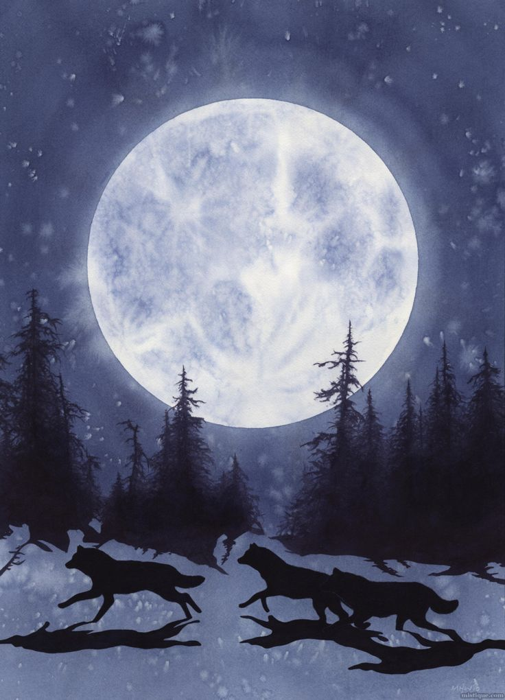 Original Art Watercolor Painting Full Moon Wolves Wolf