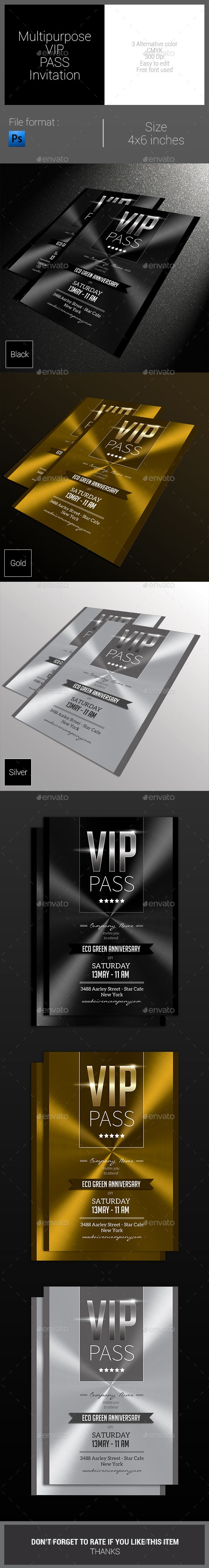 Multipurpose VIP Pass Invitation — Photoshop PSD #metal #flyer • Available here → https://graphicriver.net/item/multipurpose-vip-pass-invitation/8141901?ref=pxcr