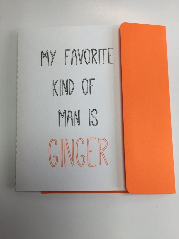 Ginger Man Card, A2 Card, Love, Funny, Red Head, Greeting Card, Minimalist, Funny Love Card, Romantic Humor, Husband, Orange, White, Black by CateCrafts on Etsy