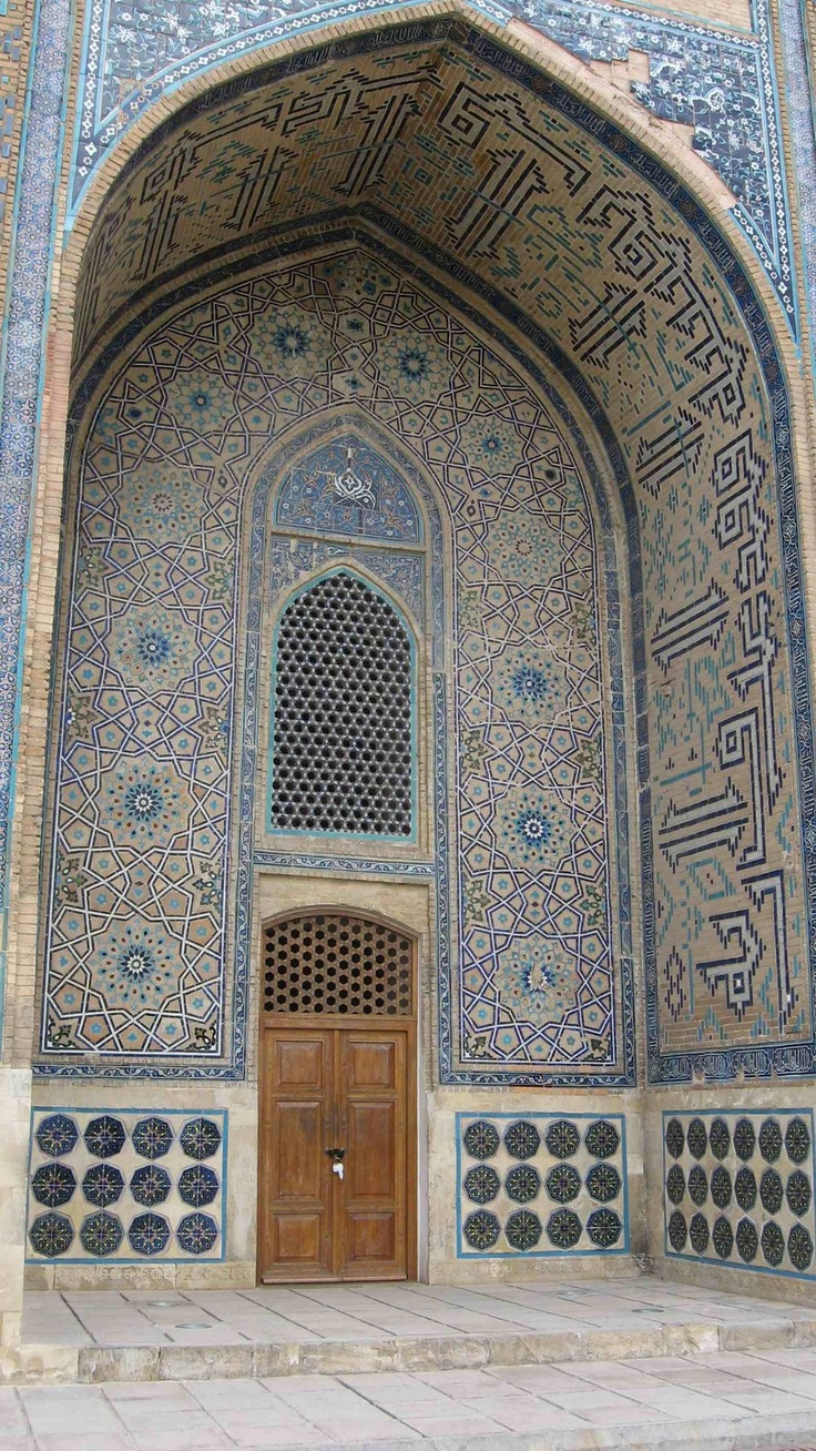 Turkestan, Kazakhstan. The main draw in the small city is the Mausoleum of Khoja Ahmed Yassawi, a poet and mystic who greatly influenced the development of Sufism in Central Asia. Gorgeous!!