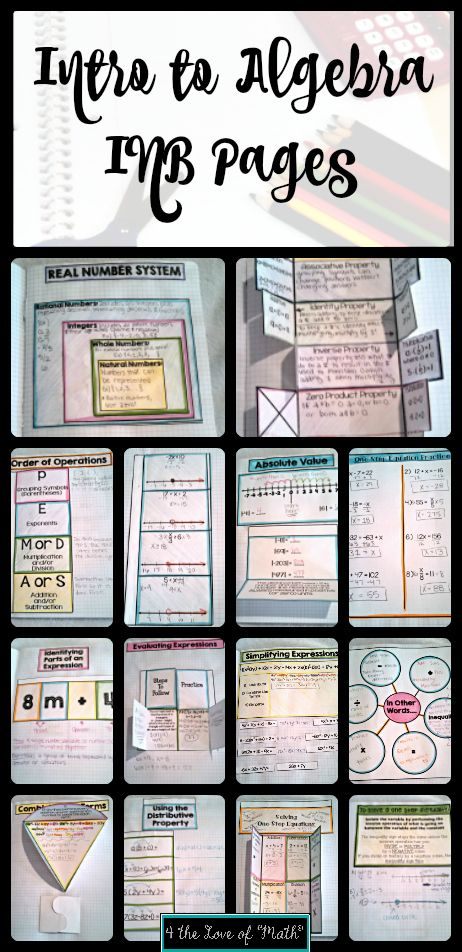 15 Easy to use interactive notebook pages on introduction to Algebra. Includes topics such as combining like terms, order of operations, expressions, and more. Photographic examples and instructions included for each page! Print, Cut, Glue, Use! #Algebra