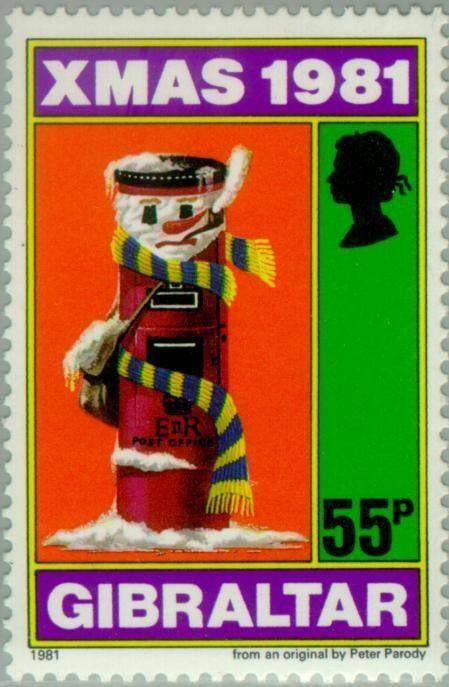 stamp christmas children s drawings gibraltar christmas 1981 mi