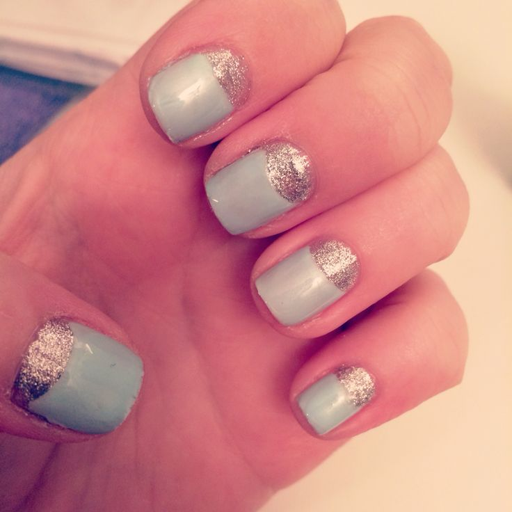 Half moon mani in blue and silver