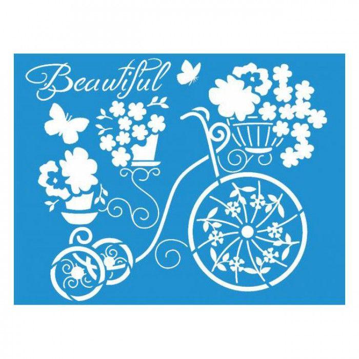 Plantilla de Stencil Bicicleta de flores 21,1x17,2cm. STMEX-307