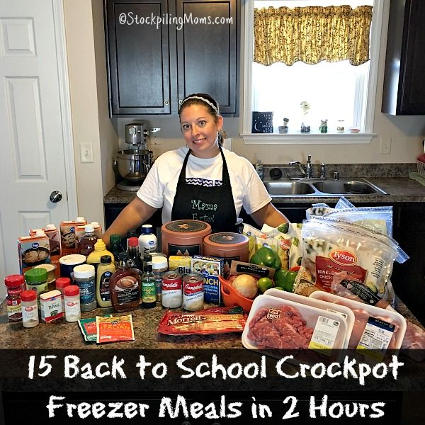 Here is a step by step instructions on how to make 15 Back to School Crockpot Freezer Meals dinner recipe in 2 Hours for your family!