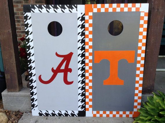 Alabama houndstooth cornhole boards vs. Tennessee cornhole boards.
