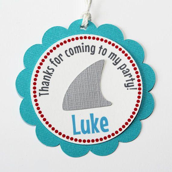 Shark Favor Tags - Shark BIrthday Favor - Shark Party Decorations - Under the Sea Party on Etsy, $15.00