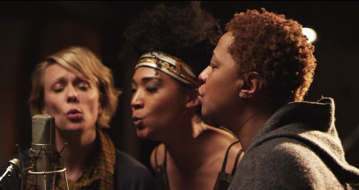 """Jo Lawry, Judith Hill and Lisa Fischer singing back-up in """"20 Feet From Stardom."""""""