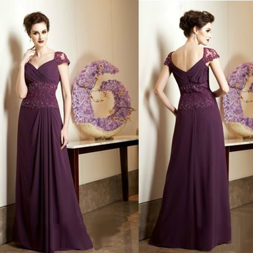 Vintage Style Purple Lace Mother of the Bride Evening Dresses Gowns  SKU-1040015
