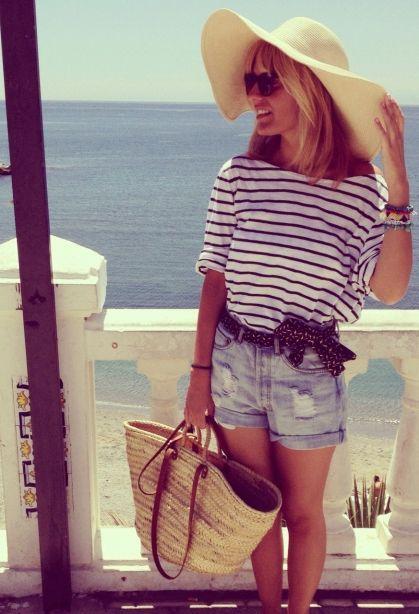 #straw bag - check, floppy hat - check, breton stripes - check, denim cut offs - check .... summer holiday ready