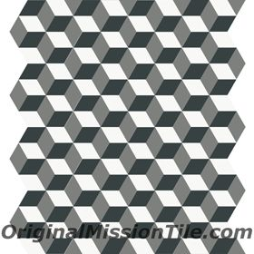 harlequin cube hexagonal tile