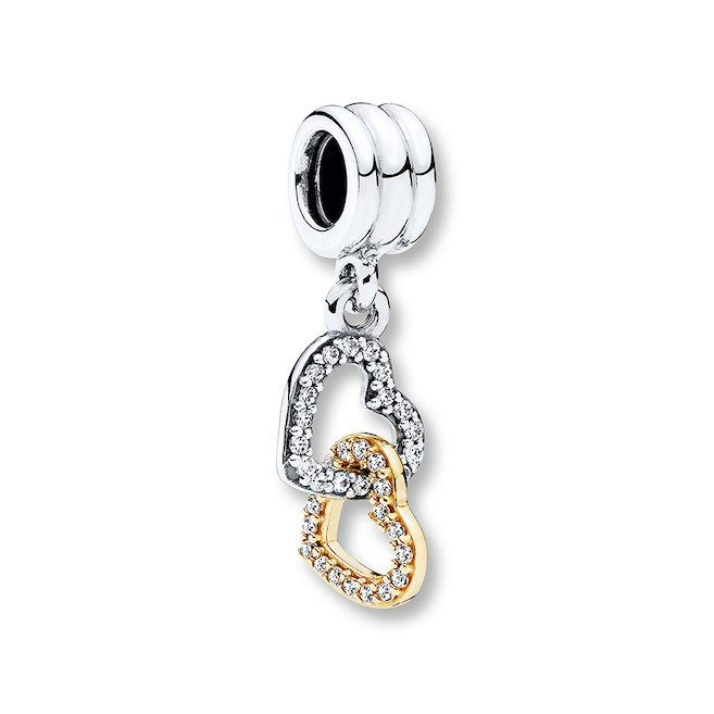 fa849d176 Pandora Charm Interlocked Hearts Sterling Silver/14K Gold | Pandora ...