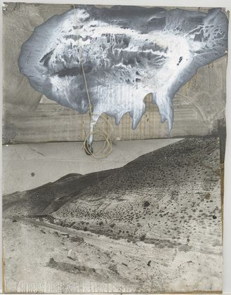 """Auszug aus Aegypten (Departure from Egypt)  Anselm Kiefer (German, born 1945)    (1984). Synthetic polymer paint, charcoal, and string on cut-and-pasted gelatin silver on board, 43 1/8 x 33 1/2"""" (109.5 x 85 cm) (irreg). Gift of the Denise and Andrew Saul Fund. © 2013 Anselm Kiefer"""