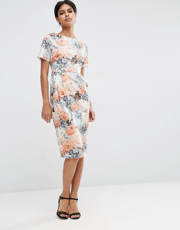 Vestito ad anfora con stampa floreale stile carta da parati