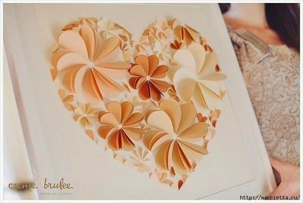 Diy Easy Paper Heart Flower Wall Art Handy Diy Paper Flower
