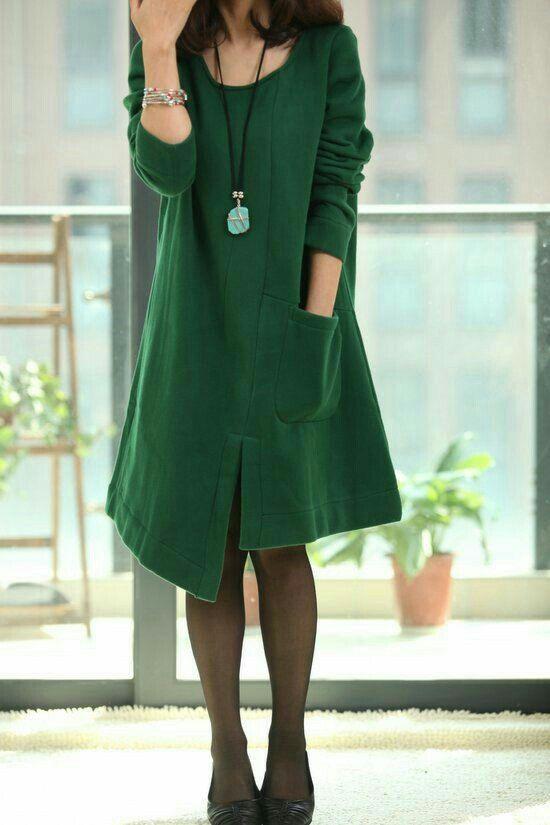 Vestido irregular verde de algodon :B