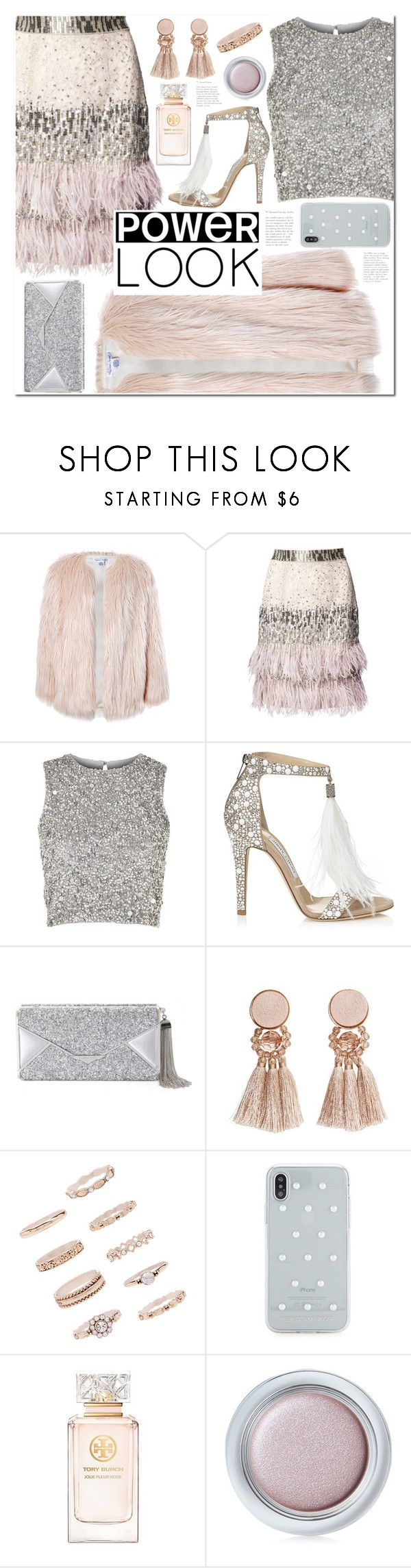 """""""Power look"""" by alexa-girl2 ❤ liked on Polyvore featuring Sans Souci, Matthew Williamson, Lace & Beads, Jimmy Choo, BCBGMAXAZRIA, MANGO, Forever 21, Rebecca Minkoff, Tory Burch and Shiseido"""