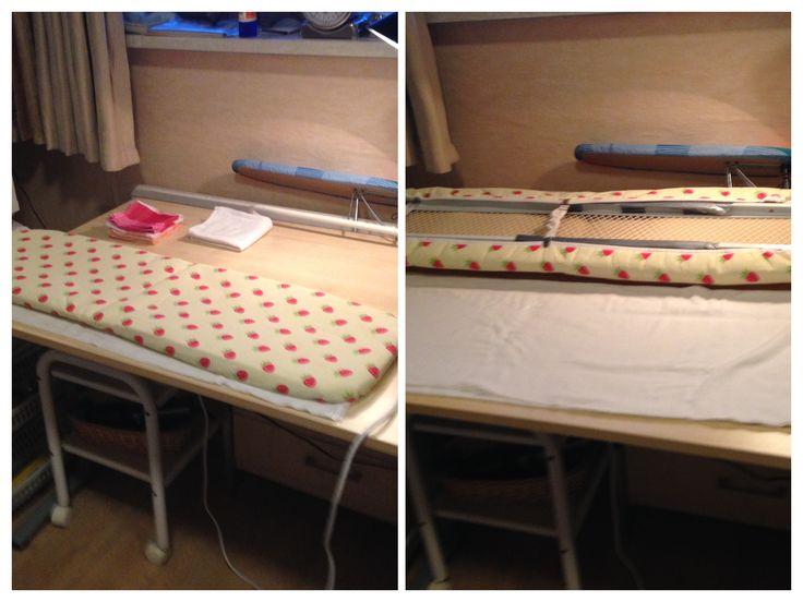 Geen plaats voor een strijkplank? Onderstel van tweedehands strijkplank verwijderd. Ook de extensie voor het strijkijzer. Ik strijk meestal zittend op een zadelstoel op wieltjes.