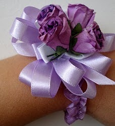 Wrist Corsage Tutorial: Wrist Corsage, Silk Flowers, White Rose, Prom Corsage, Corsage Tutorials, Ribbons Flowers, Purple Rose, Shower Favors, Flowers Elastic