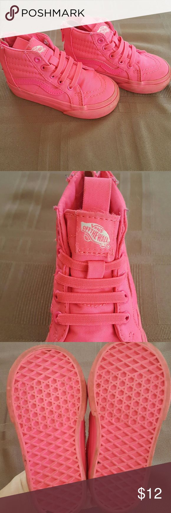 Vans toddler sneakers *LOWEST PRICE* Adorable hot pink Vans. Slip on with zipper on the heel. Vans Shoes Sneakers