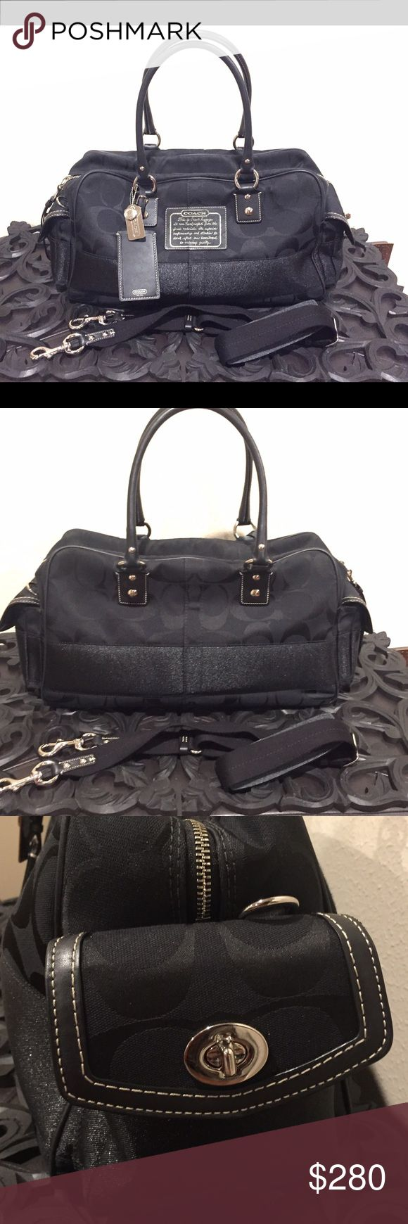 Authentic beautiful COACH travel duffle bag AUTHENTIC BEAUTIFUL COACH SIGNATURE LARGE TRAVEL DUFFLE BAG - IN BLACK  IN EXCELLENT PRE-OWNED CONDITION  - No rips, stains, tears. Very unique and rare. Perfect for travel as carry on bag. Has 2 side pockets for easy access to your phone, passport or other travel documents. Also includes a long shoulder strap. Reasonable offers accepted.  Coach Bags Travel Bags