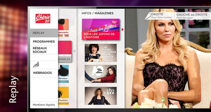 Wiztivi proposed a Chérie25 Template for the new NRJ HBBTV portal, including a catchup service access, a program guide by channel, but also an access to the group's webradios. Development | UI & UX by Séverine Lebrun -June2014