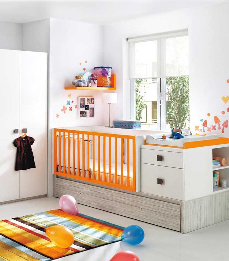 Love the built in change table and storage. Shining Comfy Baby Nursery Room Design
