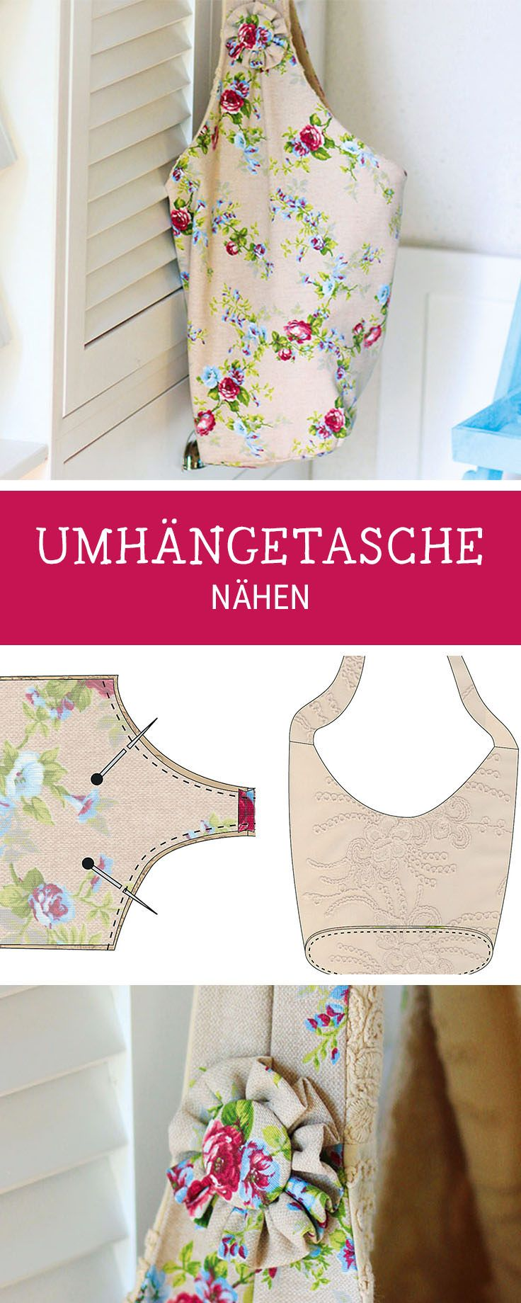 Näh Dir Deine eigene Umhängetasche als Begleiter für den Alltag und Urlaub, Nähanleitung Tasche / diy sewing pattern for a big shopper bag via DaWanda.com