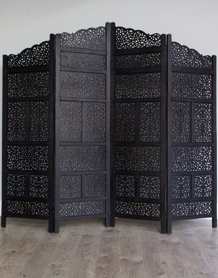 love this from moroccan bazaar, wish I had the room - Black Carved Wooden Moroccan Screen- Four Panel