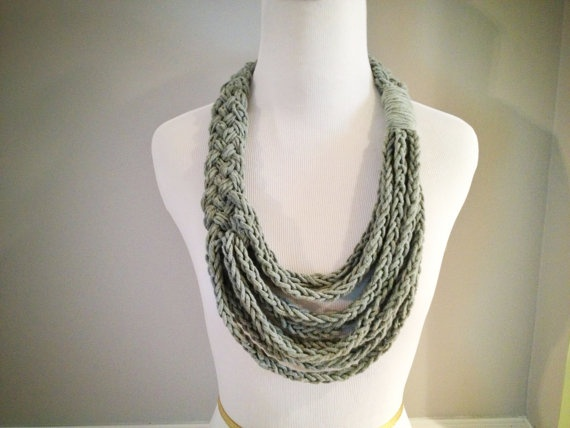 Grey Braided Asymmetrical Necklace with Finger Knit Cotton Strands - Infinity Scarf - Scarflace. $22.00, via Etsy.